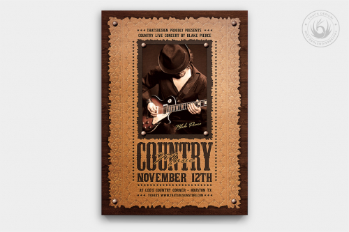 Country Music Flyer Template PSD download design V7